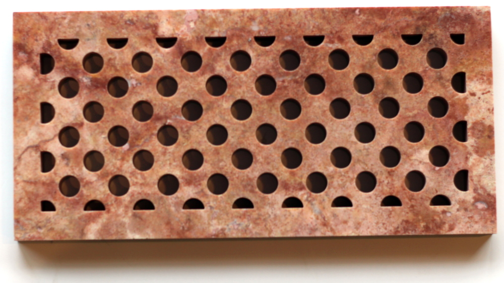 Red marble circle grid heat register cover