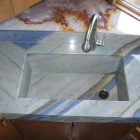 Blue Granite Integrated Sink by Stone Center, Inc