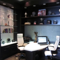 Glass2 Underlit Desk by Stone Center, Inc