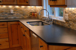 honed black absolute kitchen counter undermount sink