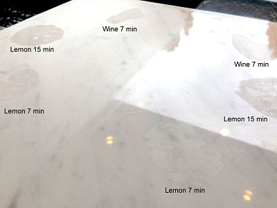Etching on carrara marble tile