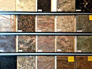 Granite sample wall in Stone Center Inc showroom
