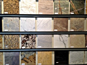 Sample Wall with Marble and Granite Tiles in Stone Center Inc showroom