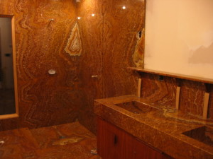 Bookmatched Slab Shower in Tiger Onyx by Stone Center Inc Portland